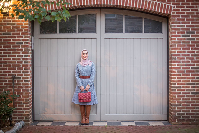 Plaid Midi Dress - Trench Coat - Fall boots - Sam Edelman Penny Boots - Red Handbag - J. Crew Edie bag - Fells Point Baltimore - Fall Style - Fashion Blog - Muslim Fashion Blogger