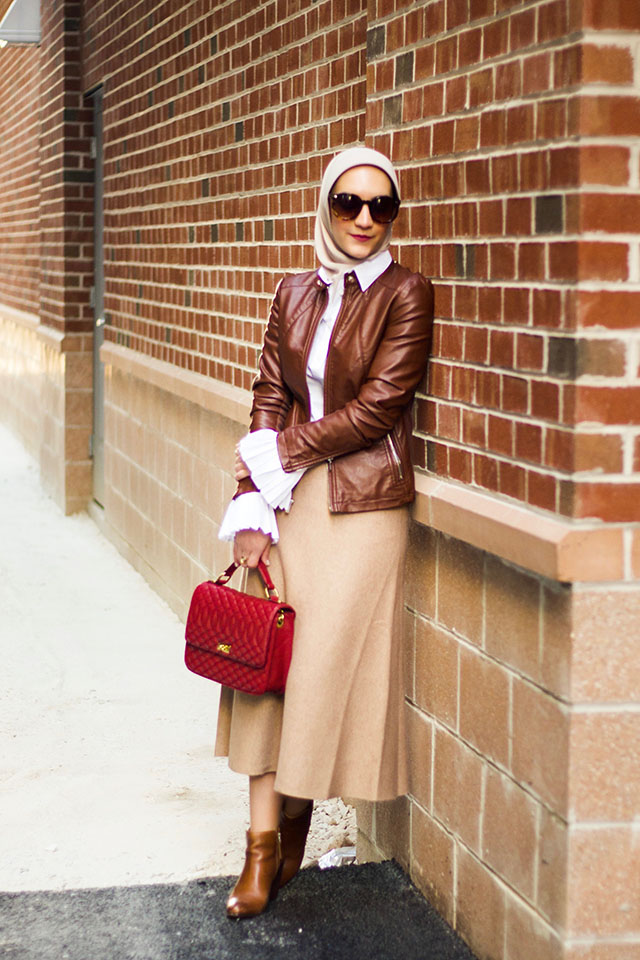 Sweater Skirt-Fall Fashion-Leather Jacket-Banana Republic Riley-Fit Tailored Pleated Cuff Shirt-Cognac Booties-Haute Hijab Scarf-Fashion Blogger-Alixzina Photography