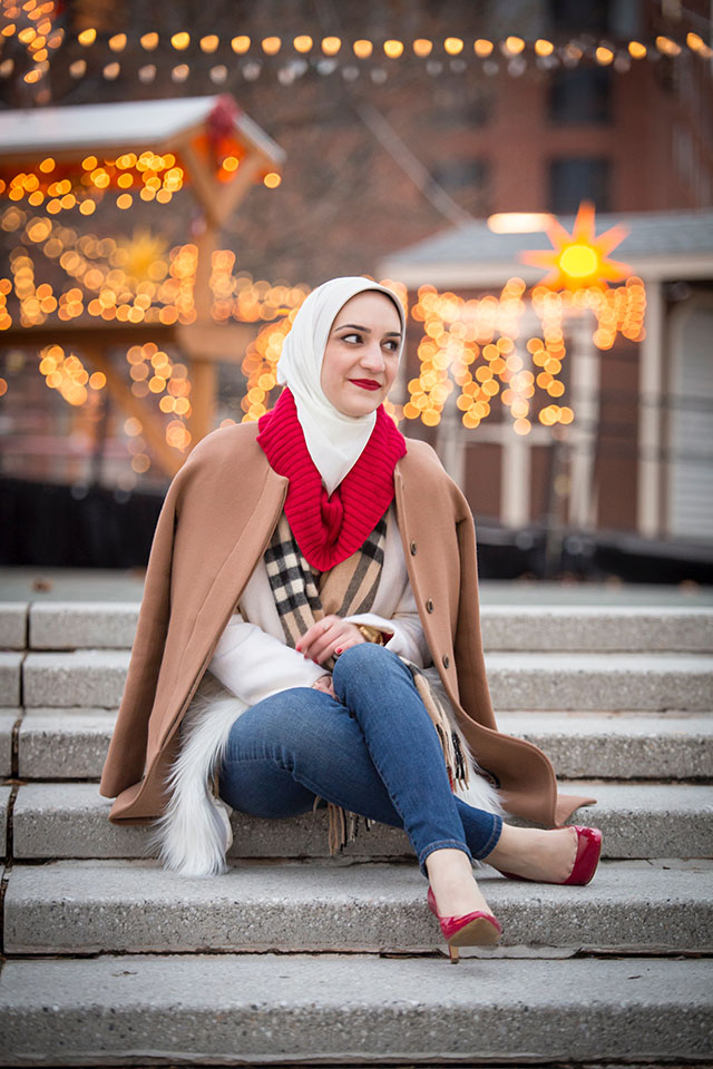 Christmas Village in Baltimore - Inner Harbor Christmas - Red High Gloss Hunter Boots - J. Crew Camel Coat - Burberry Wool Scarf-Winter Style - Holiday Style - Hijab Fashion - Modest Fashion Blogger