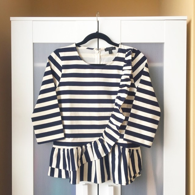 J. Crew ruffle stripe top