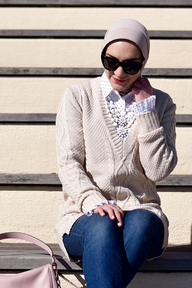 TOBI Hetty Cable Knit Sweater - Spring Layers - M. Gemi Brezza Flats - Polka Dot Shirt - Hijabi Fashion Blogger - Spring sweater layers - fashion blog - NYC Style