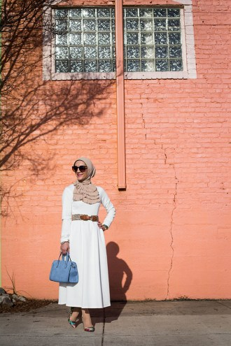 White Long Sleeve Flare Dress-Modest Dress-White Summer Dress-Hijab Fashion-Vela Pleated Scarf-Multi Color Heels-Hijabi Blogger-Modest Fashion-Fashion Blogger-Little Havana Baltimore