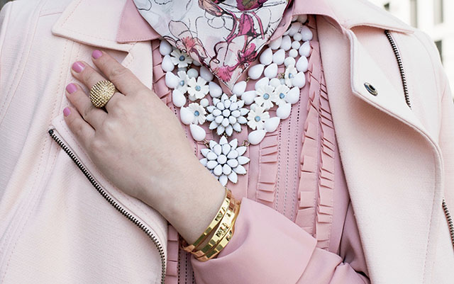 Monochromatic blush pink outfit - banana republic pink pants - bauble bar Adelia bib necklace - haute hijab scarf - ted baker clutch - hijabi - ASOS pink sunglasses - fashion blogger - street style modest fashion