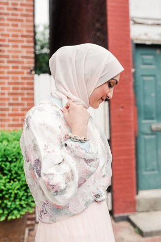 Louise Tulle Skirt-Textured Floral Bomber-Boatneck Top-Spring-Pink tulle skirt-hijab-Anthropologie