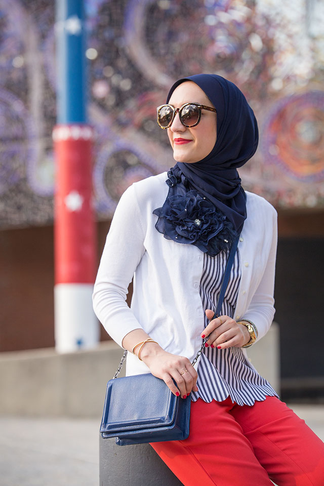 Fourth of July Outfit-Red Pants-Banana Republic-Stripe Top-July 4th Style-Hijabi