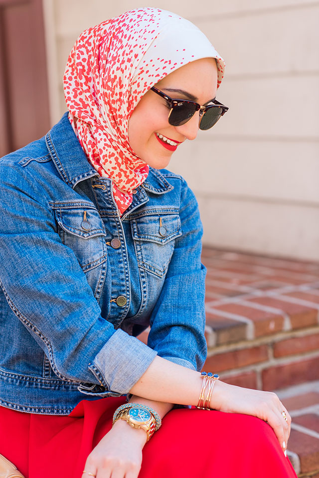 lalz-fourth of july outfit-red midi skirt-denim jacket-summer outfit-rebecca minkoff mini mac-baltimore flag house-hijab blogger