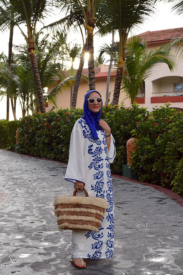 Kaftan Dress-Hijab-Beach Look-Kayu Tote-Dominican Republic-Punta Cana