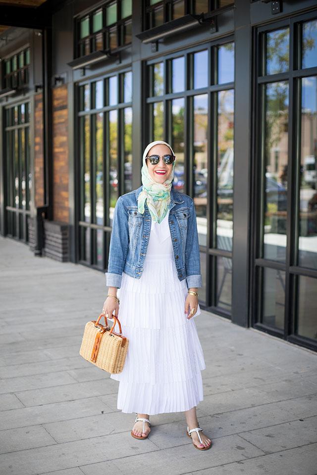 Pleated Midi Dress-Summer Fashion-White Dress-Denim Jacket-Peterson's Snow Balls-Basket Bag-Hijab Fashion