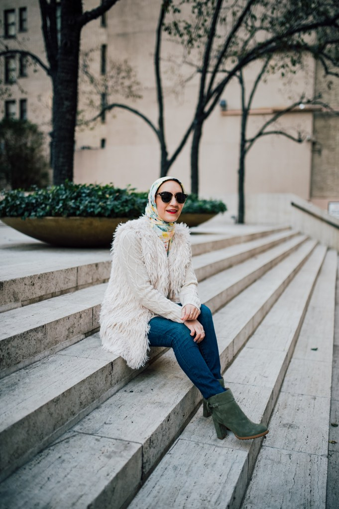 Bow Booties for Fall and faux fur vest