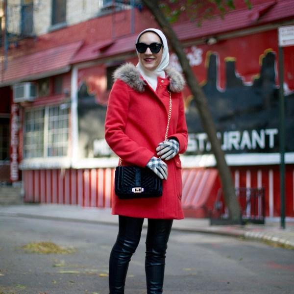 J.Crew Parka-Leather Leggings-Burberry Scarf-Hijab