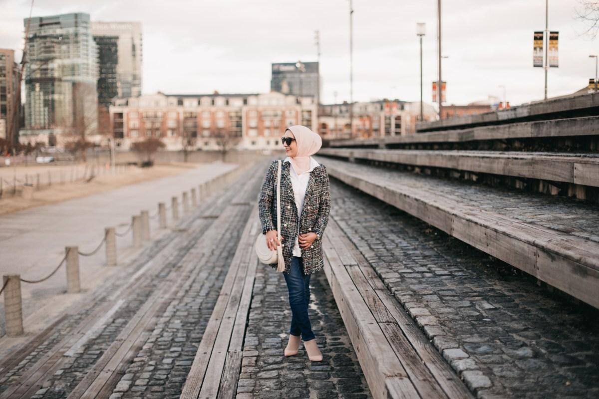 Tweed Blazer, J.Crew Toothpick Denim, A Day In The Lalz, Hijabi Blogger