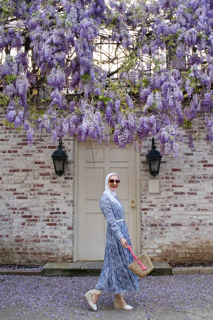 J.Crew Shirtdress-Liberty London-Wisteria in DC-Lalz-Haute HIjab=Pamela Munson Bucket Bag