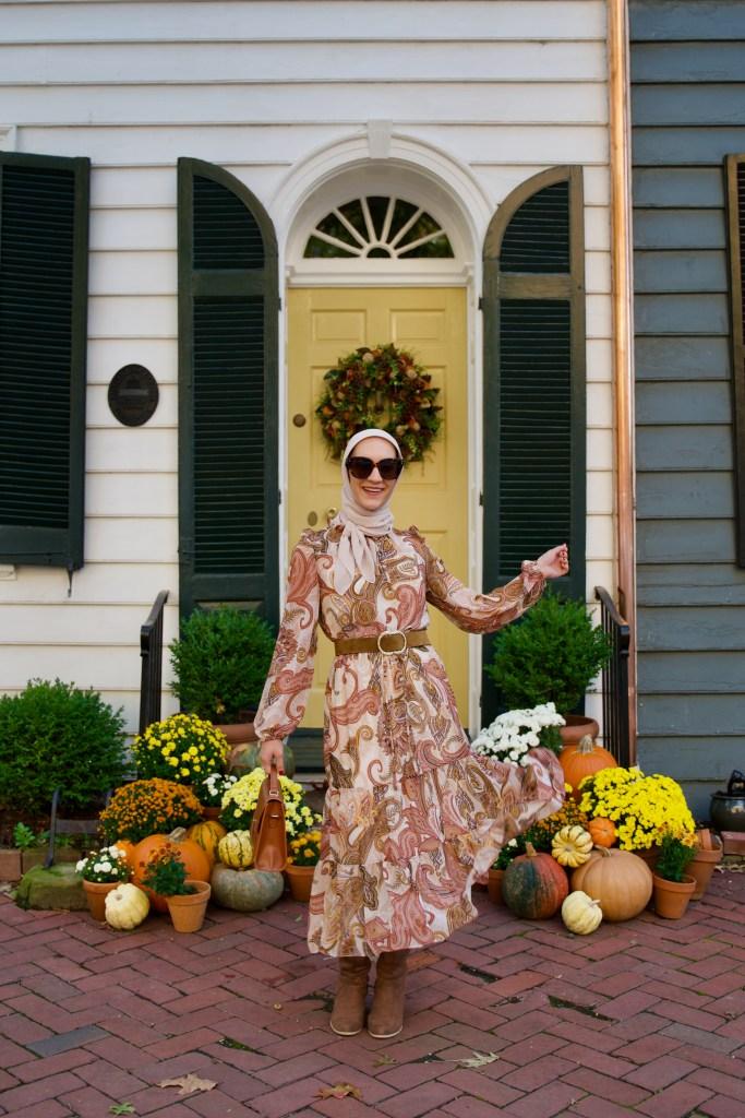 Fall-Midi-Dress-Modest-Fashion-Sezane-Belt-DC-Blogger