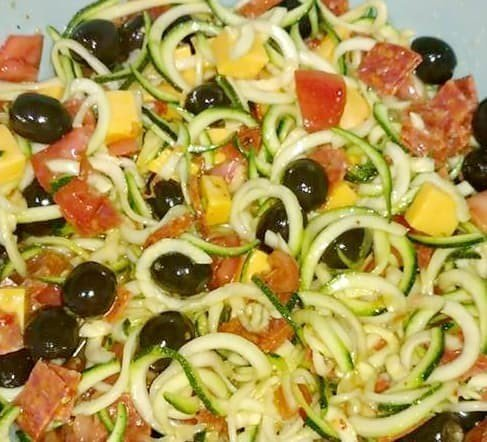 Healthy Pasta Salad With Zoodles and Fresh Veggies