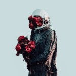 spaceman with roses in hand