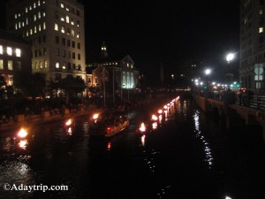 Bonfires along the river at WaterFire in Downtown Providence, RI - a great free activity