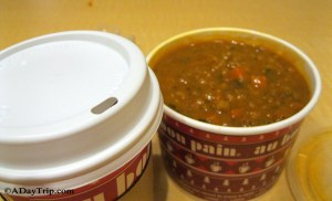 Coffee and the harvest mushroom and wheatberries soup at Au Bon Pain