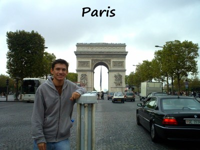 Standing in front of the Arc de Triomphe during one of my Paris trips
