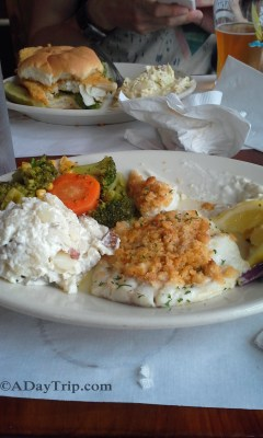 baked haddock for dinner at the fish shack