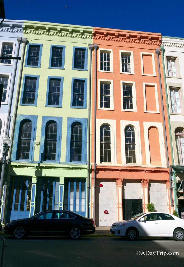 Brightly colored facades
