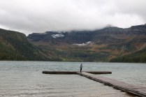 Adam in the distance at Cameron Lake in Waterton Lakes National Park.