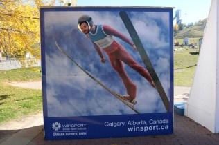 Adam ski-jumping at Canada Olympic Park, Calgary.