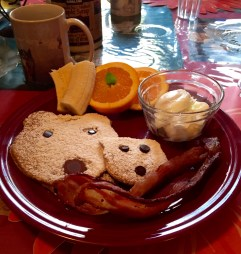 Delicious Polar Bear Pancakes for breaky at the Bluesky Bed & Sled!