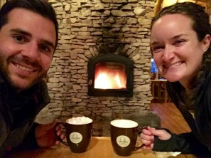 We stopped by the Lazy Bear Lodge for some warm drinks after exploring the shoreline in our rental truck.