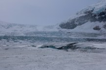 A view of the Athabasca Glacier, from on top of the glacier in the Columbia Icefield.