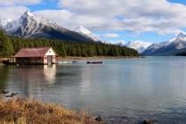 Maligne Lake boat house in Jasper National Park.