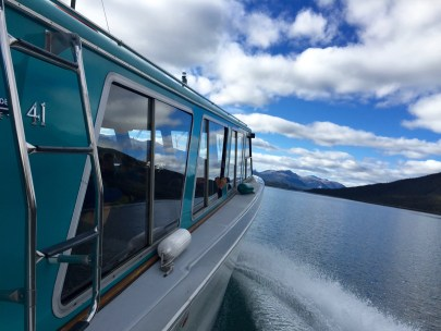On our boat on Maligne Lake in Jasper National Park.