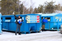 In Yellowknife we have to drive our recyclables to recycling stations located around the city. Here is Bryan showing his enthusiasm for his first Yellowknife recycling experience.
