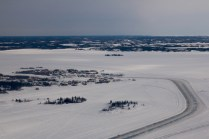 Aerial view of Dettah Iceroad from the ski plane