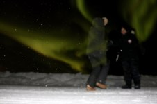 We were still trying to perfect our Aurora photography - didn't quite make the timer on this one but it made for kind of a neat pic.