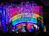 Strange costumes and bright colours on stage for the Flaming Lips show