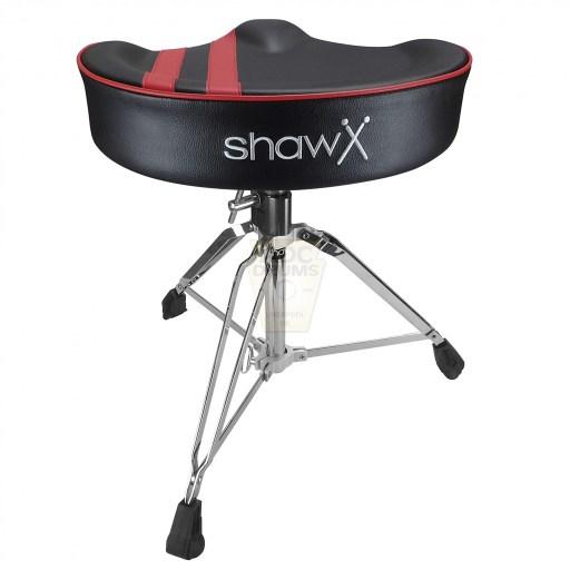 Shaw-Motorcycle-Saddle-black-vinyl-red-stripe-Drum-Throne-rear