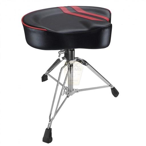 Shaw-Motorcycle-Saddle-black-vinyl-red-stripe-Drum-Throne