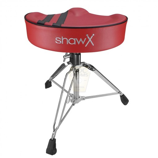 Shaw-Motorcycle-Saddle-red-vinyl-black-stripe-Drum-Throne-rear