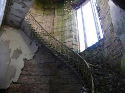 Main staircase at Crawford Priory - since collapsed