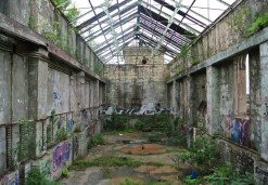 Inside the shell of the pumping house