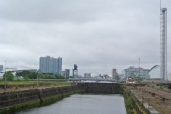 Beyond the docks. Background left to right: new Hydro music venue, Crowne Plaza Hotel, Finnieston Crane - preserved landmark from the age of shipbuilding, the Squinty Bridge, new BBC Scotland centre, the Glasgow Science Centre and Tower.