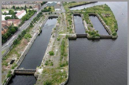 Overhead view of Govan docks
