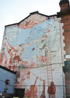 Maryhill Community Centre, Maryhill Road. Fading mural survivor from the 1970s (I presume)