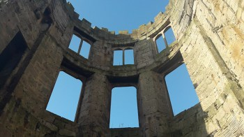 Ruins of Cambusnethan House - windows, walls and blue sky