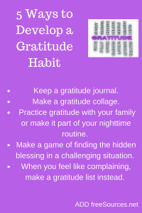 Practice gratitude with your family or as part of your daily routine.