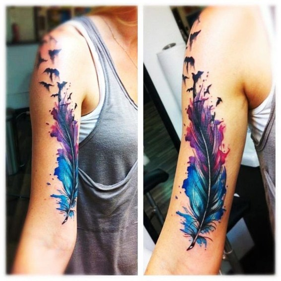 Awesome Feather Tattoo Ideas11