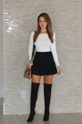 Adorable Winter Outfits Ideas Boots Skirts34