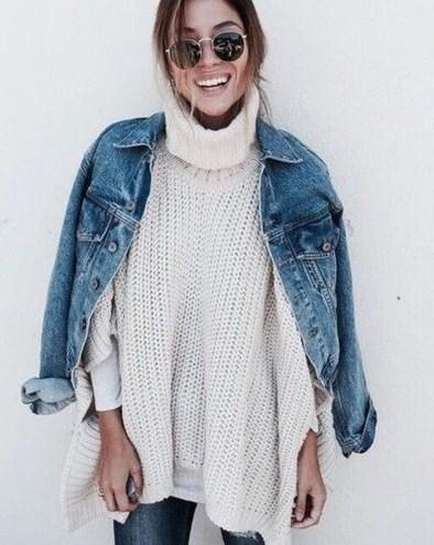 Delightful Winter Outfits Ideas Denim Jacket17