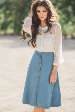 Fancy Winter Outfits Ideas Jean Skirts36