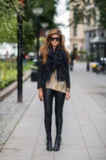 Pretty Winter Outfits Ideas Black Leather Jacket23